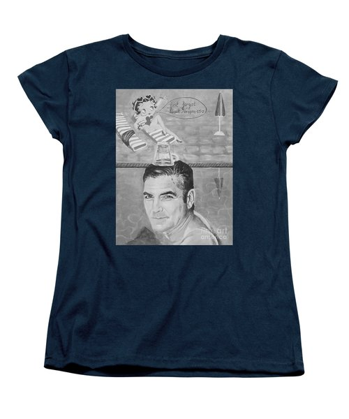 Women's T-Shirt (Standard Cut) featuring the painting George Clooney by Jeepee Aero
