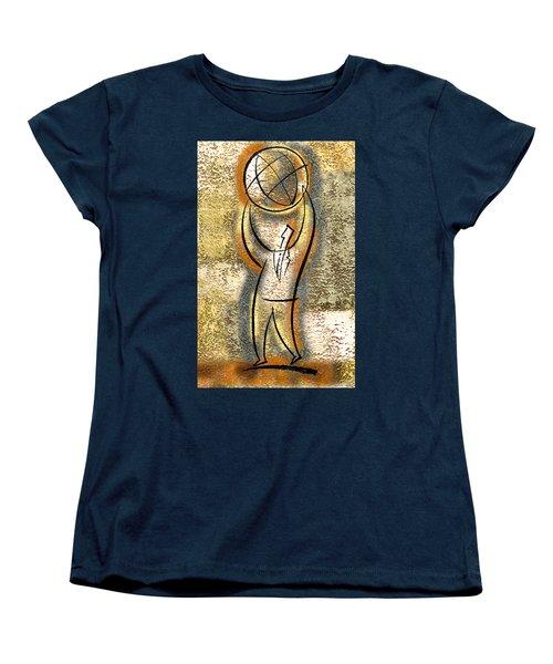 Women's T-Shirt (Standard Cut) featuring the painting Globalization  by Leon Zernitsky