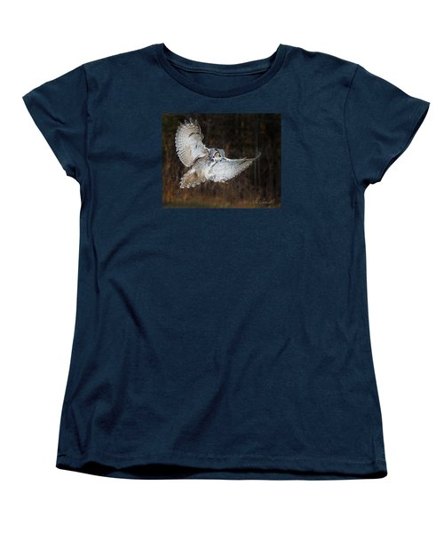 Great Horned Owl Women's T-Shirt (Standard Cut) by CR Courson