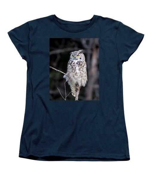 Great Horned Owl  Women's T-Shirt (Standard Cut) by Jack Bell