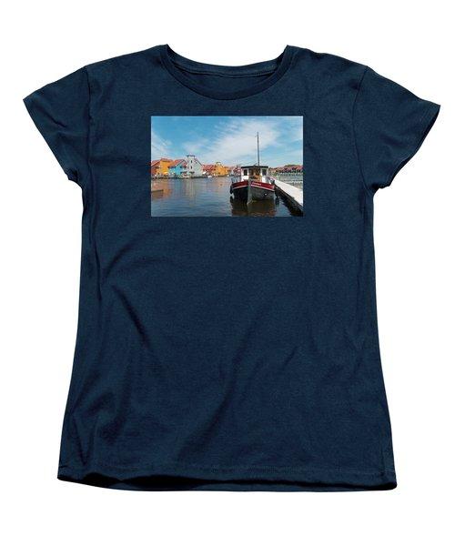 Harbor In Groningen Women's T-Shirt (Standard Cut) by Hans Engbers