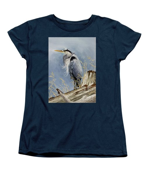 Women's T-Shirt (Standard Cut) featuring the painting Herons Windswept Shore by James Williamson