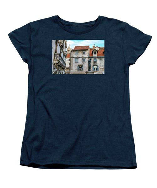 Houses And Cathedral Of Saint Domnius, Dujam, Duje, Bell Tower Old Town, Split, Croatia Women's T-Shirt (Standard Cut) by Elenarts - Elena Duvernay photo