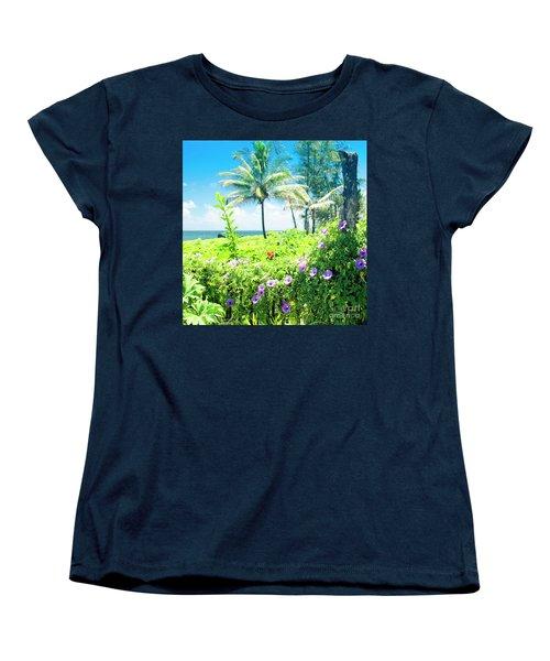 Women's T-Shirt (Standard Cut) featuring the photograph Ipomoea Keanae Morning Glory Maui Hawaii by Sharon Mau