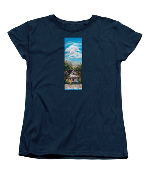 Women's T-Shirt (Standard Cut) featuring the painting Island Bungalow by Linda Olsen