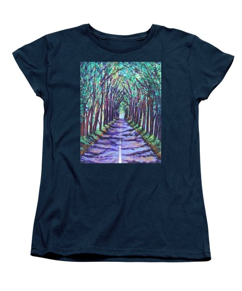 Women's T-Shirt (Standard Cut) featuring the painting Kauai Tree Tunnel by Marionette Taboniar