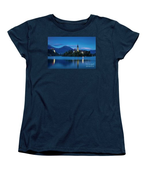 Women's T-Shirt (Standard Cut) featuring the photograph Lake Bled Twilight by Brian Jannsen