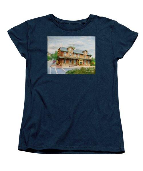 Women's T-Shirt (Standard Cut) featuring the painting Lambertville Inn by Oz Freedgood