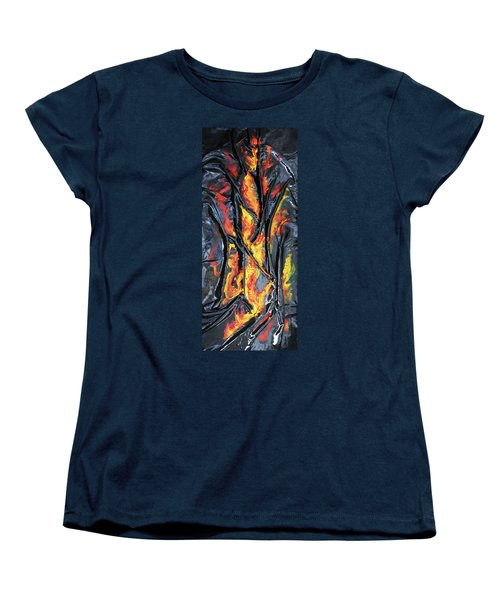 Women's T-Shirt (Standard Cut) featuring the mixed media Leather And Flames by Angela Stout