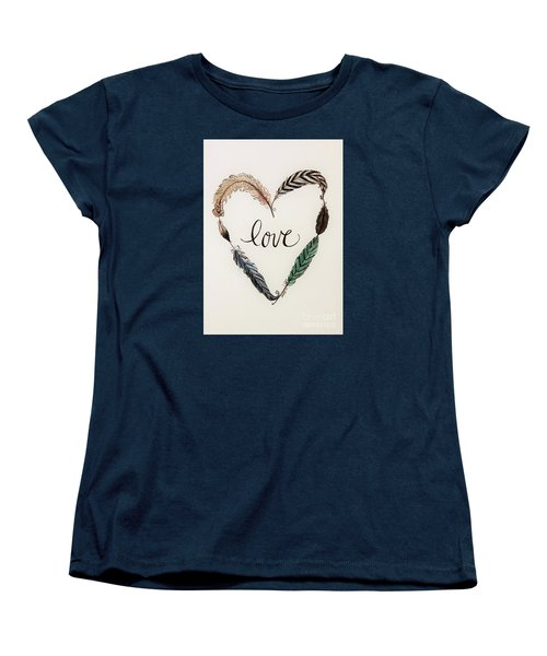 Women's T-Shirt (Standard Cut) featuring the painting Feathers Of Love by Elizabeth Robinette Tyndall