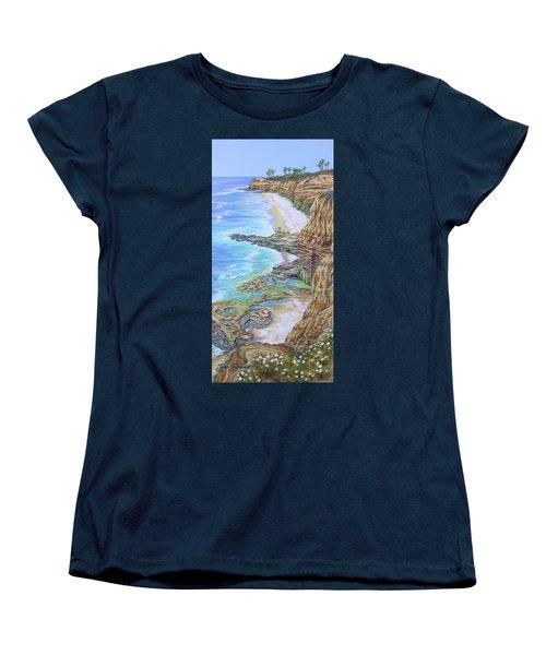 Low Tide Sunset Cliffs Women's T-Shirt (Standard Cut) by Jane Girardot