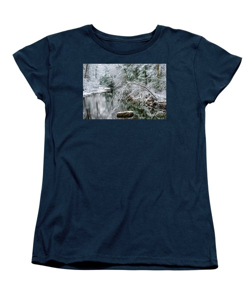 Women's T-Shirt (Standard Cut) featuring the photograph March Snow Cranberry River by Thomas R Fletcher