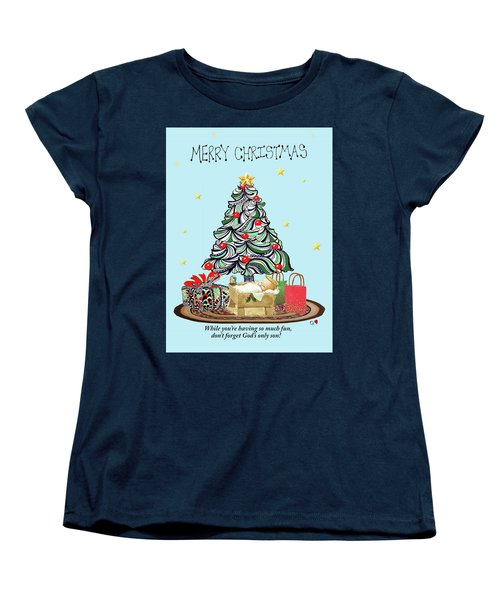 Women's T-Shirt (Standard Cut) featuring the drawing Merry Christmas by Quwatha Valentine