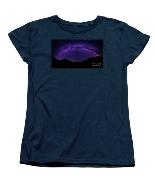 Women's T-Shirt (Standard Cut) featuring the photograph milky way above the Alps by Hannes Cmarits