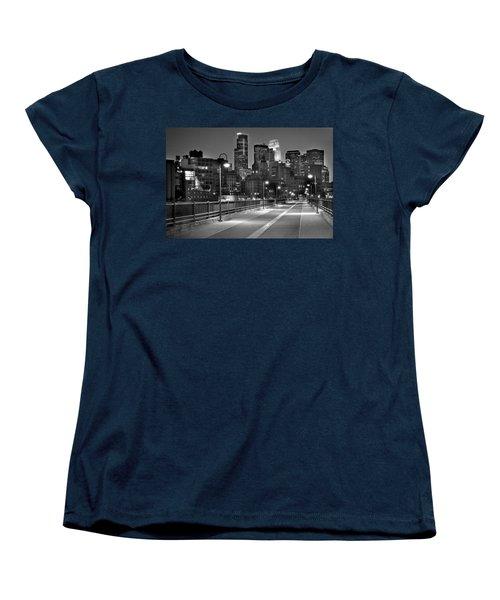Minneapolis Skyline From Stone Arch Bridge Women's T-Shirt (Standard Cut) by Jon Holiday