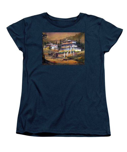 Monastery In Himalaya Mountain Women's T-Shirt (Standard Cut) by Samiran Sarkstery in Himalaya Mountainar