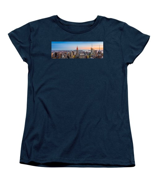 New York Skyline Panorama Women's T-Shirt (Standard Cut) by Mihai Andritoiu