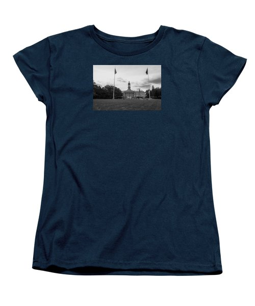 Old Main Penn State Black And White  Women's T-Shirt (Standard Cut) by John McGraw