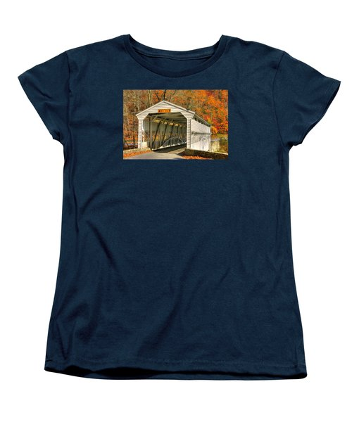 Pa Country Roads - Knox Covered Bridge Over Valley Creek No. 2a - Valley Forge Park Chester County Women's T-Shirt (Standard Cut) by Michael Mazaika