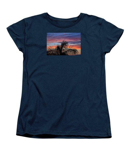 Women's T-Shirt (Standard Cut) featuring the photograph Palm Tree Sunrise by Nikki McInnes