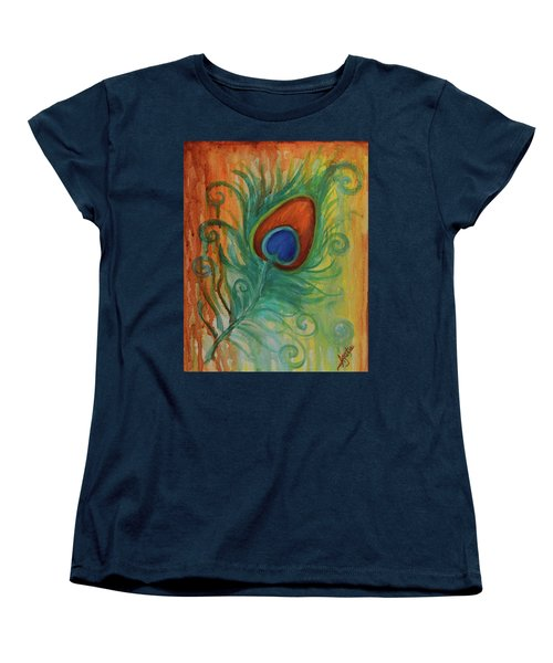 Peacock Feather Women's T-Shirt (Standard Cut) by Agata Lindquist