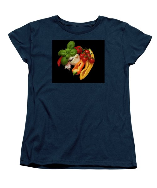 Women's T-Shirt (Standard Cut) featuring the photograph Peppers Basil Tomatoes Garlic by David French