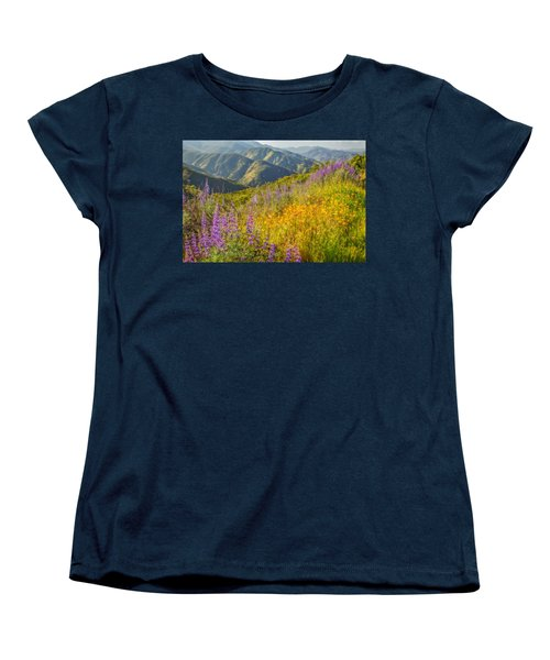 Poppies And Lupine Women's T-Shirt (Standard Cut) by Marc Crumpler
