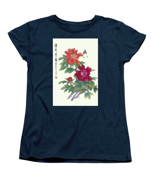 Red Peonies Women's T-Shirt (Standard Cut) by Yufeng Wang