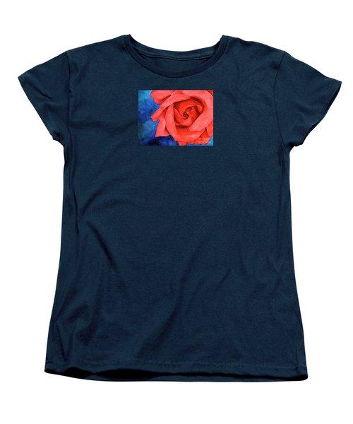 Red Rose Women's T-Shirt (Standard Cut) by Rebecca Davis