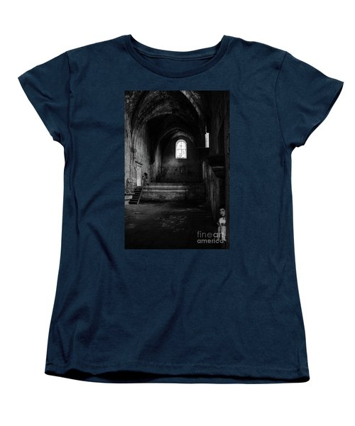 Women's T-Shirt (Standard Cut) featuring the photograph Rioseco Abandoned Abbey Nave Bw by RicardMN Photography