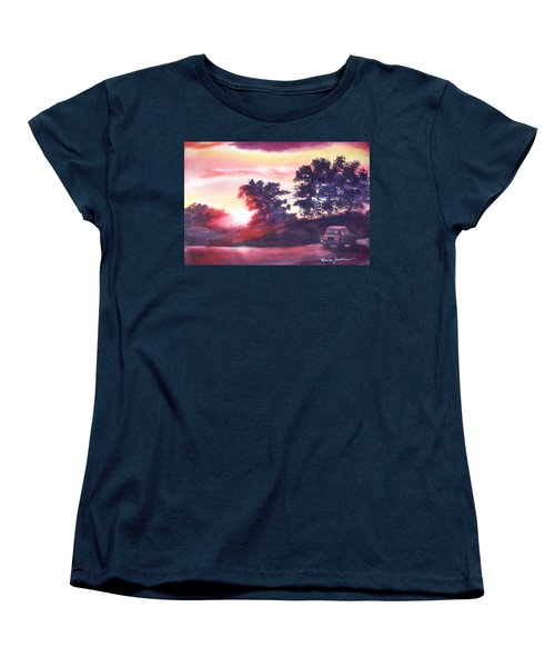 Women's T-Shirt (Standard Cut) featuring the painting Road To Fargo by Marilyn Jacobson