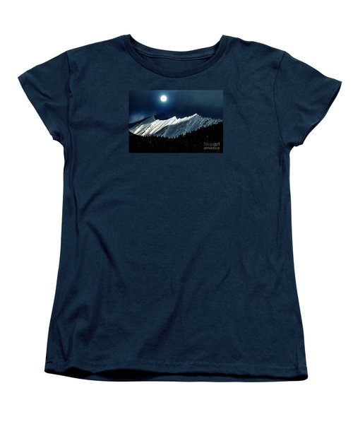 Rocky Mountain Glory In Moonlight Women's T-Shirt (Standard Cut) by Elaine Hunter