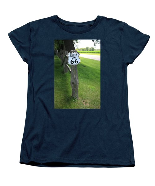 Women's T-Shirt (Standard Cut) featuring the photograph Route 66 Shield And Fence Post by Frank Romeo