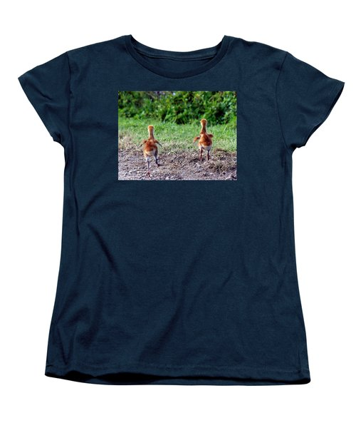 Sandhill Crane Chicks 000 Women's T-Shirt (Standard Cut) by Chris Mercer