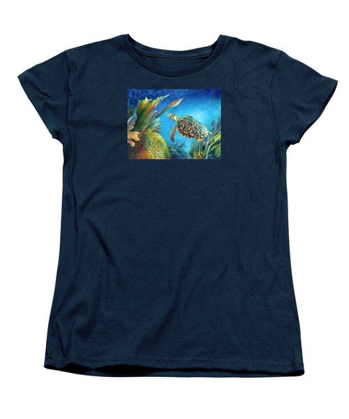 Women's T-Shirt (Standard Cut) featuring the painting Sea Escape Iv - Hawksbill Turtle Flying Free by Nancy Tilles