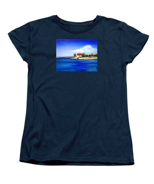 Sea Hill Boatshed - Original Sold Women's T-Shirt (Standard Cut) by Therese Alcorn