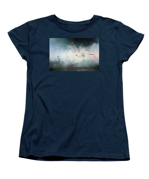 Seagull In Flight Women's T-Shirt (Standard Cut) by Sennie Pierson