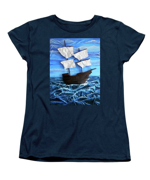 Women's T-Shirt (Standard Cut) featuring the mixed media Ship by Angela Stout