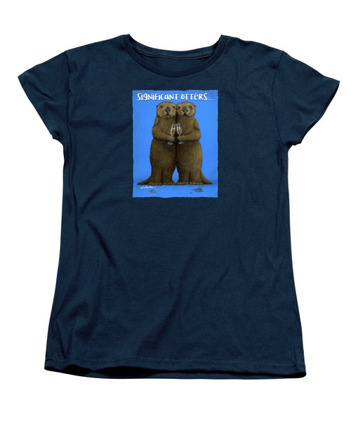 Women's T-Shirt (Standard Cut) featuring the painting Significant Otters... by Will Bullas