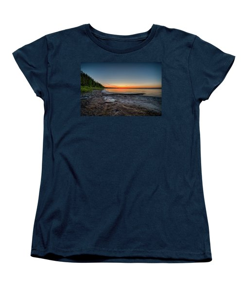 Women's T-Shirt (Standard Cut) featuring the photograph Skeleton Lake Beach At Sunset by Darcy Michaelchuk
