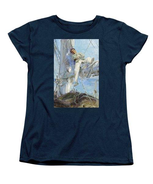 Sleeping Sailor Women's T-Shirt (Standard Cut) by Henry Scott Tuke