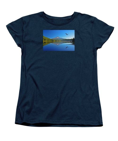 Women's T-Shirt (Standard Cut) featuring the photograph Soaring Bald Eagle by Jack Moskovita