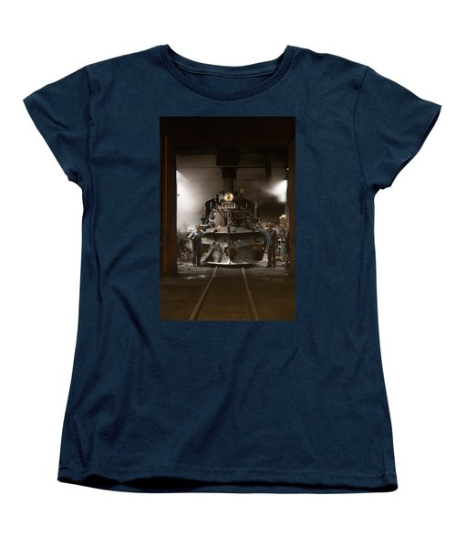 Steam Locomotive In The Roundhouse Of The Durango And Silverton Narrow Gauge Railroad In Durango Women's T-Shirt (Standard Cut) by Carol M Highsmith