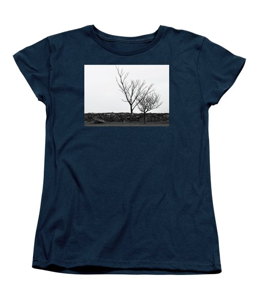 Women's T-Shirt (Standard Cut) featuring the photograph Stone Wall With Trees In Winter by Nancy De Flon