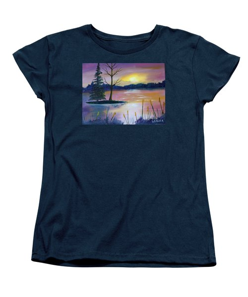 Women's T-Shirt (Standard Cut) featuring the painting Stormy Sunset by Jack G Brauer