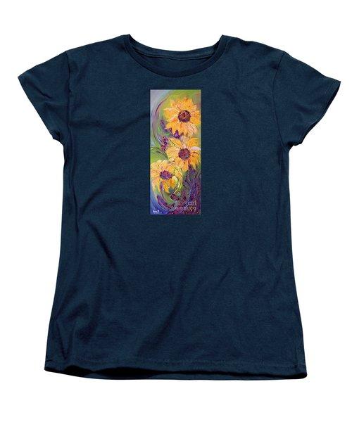 Sunflowers Women's T-Shirt (Standard Cut) by AmaS Art