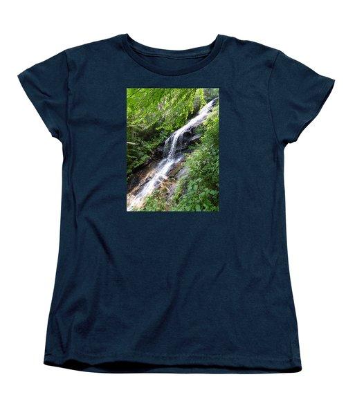 Women's T-Shirt (Standard Cut) featuring the photograph Sunlit Cascade by Joel Deutsch