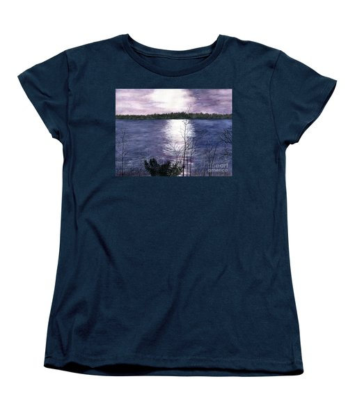 Women's T-Shirt (Standard Cut) featuring the painting Sunset At Niagara River New York by Melly Terpening