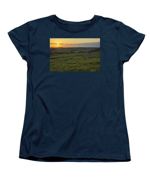 Sunset Over Killdeer Badlands Women's T-Shirt (Standard Cut) by Robert Postma