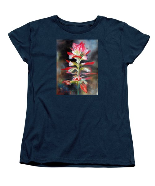 Women's T-Shirt (Standard Cut) featuring the pastel Texas Indian Paintbrush by Karen Kennedy Chatham